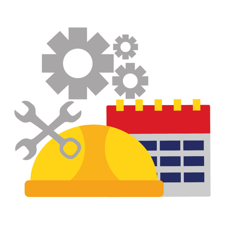 calendar helmet tools gears labour day vector illustration