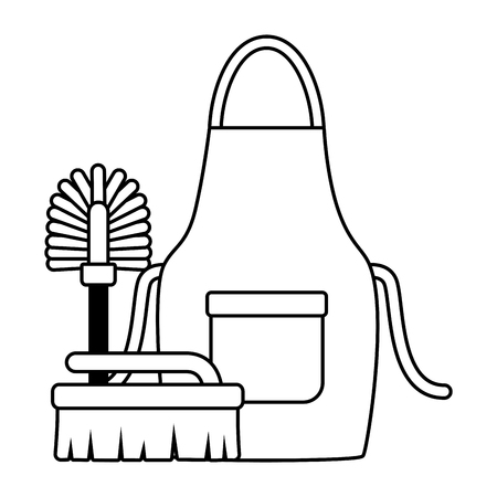apron toilet brush spring cleaning tools vector illustration 版權商用圖片 - 122637723