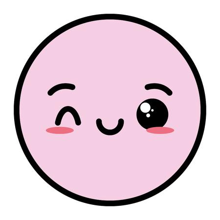 kawaii emoji cartoon face expression vector illustration Stock Illustratie