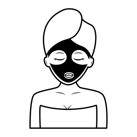 woman with towel health spa vector illustration Ilustracja
