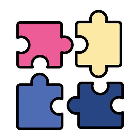 Puzzles Puzzleteile auf weißem Hintergrund Vektor-Illustration