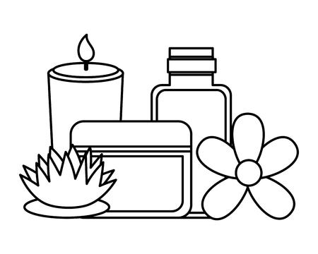 Productos para el cuidado de la piel flor tratamiento de spa terapia ilustración vectorial