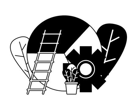 business chart gear ladder vector illustration design