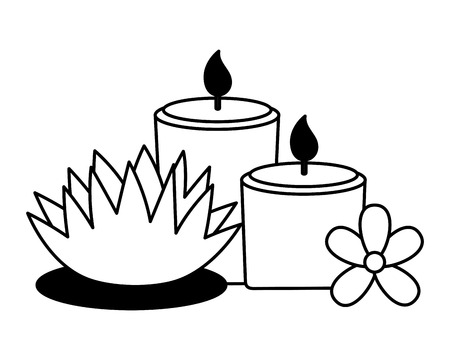 candles lotus flowers spa treatment therapy vector illustration