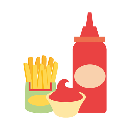 sauce bottle french fries fast food vector illustration