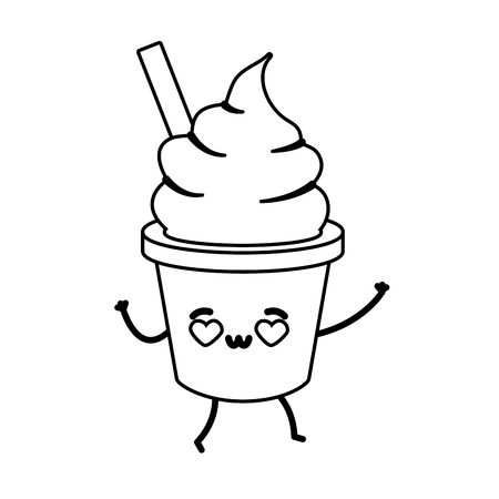 kawaii ice cream fast food vector illustration