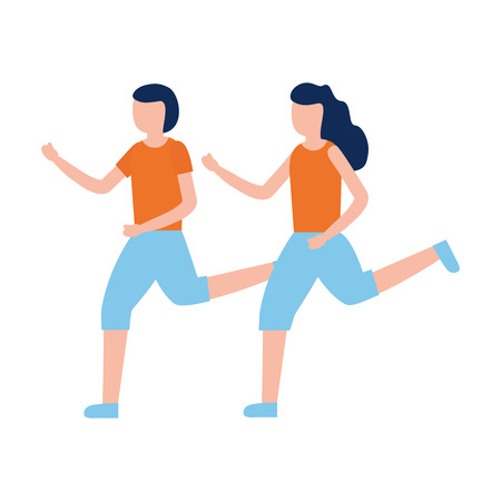 man and woman training exercise activity vector illustration