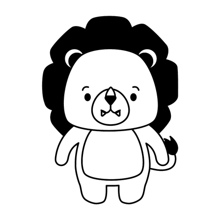 cute lion animal cartoon vector illustration design Ilustração