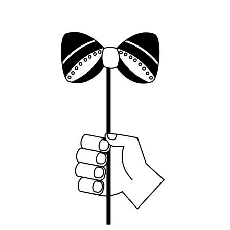 carnival hand with bowtie vector illustration design Illustration