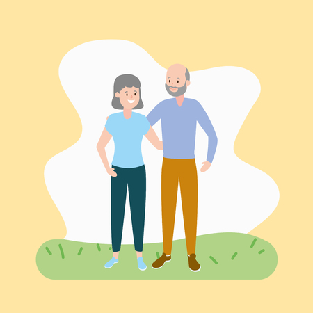 grandfather and grandmother couple vector illustration design Иллюстрация