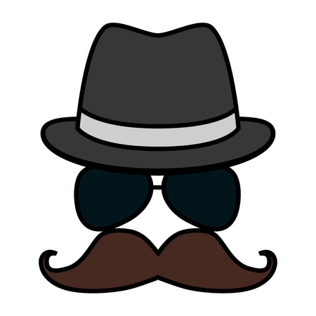 hipster hat mustache eyeglasses vector illustration design Ilustracja