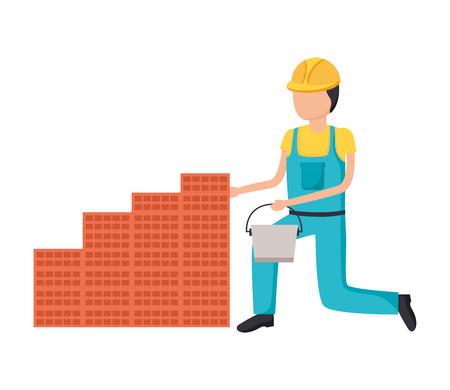 worker bucket wall bricks tool construction vector illustration