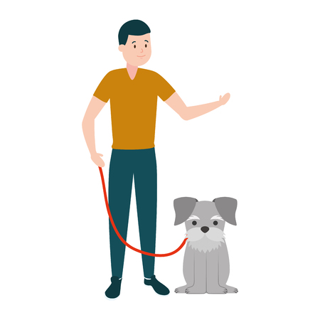 man with his dog domestic vector illustration