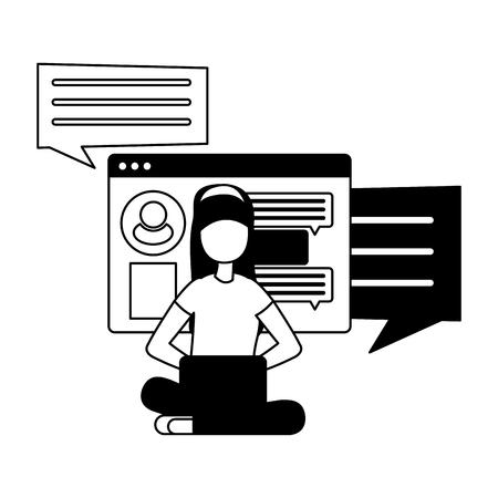 woman with laptop computer avatar character vector illustration desing Vektoros illusztráció