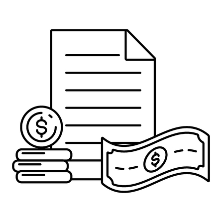 document money coin bill online payment vector illustration