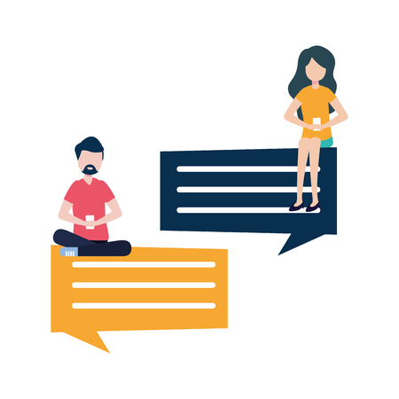 couple with smartphone and speech bubble vector illustration desing
