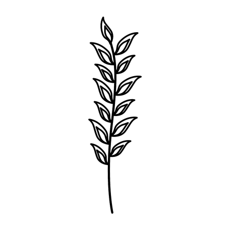 branch leaves foliage on white background vector illustration  イラスト・ベクター素材