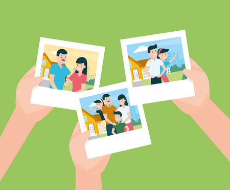 hands with photos familiy day vector illustration design Banque d'images - 122637981