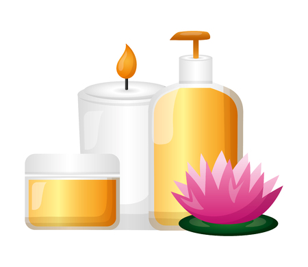 skin products care candle flower spa treatment therapy vector illustration Banco de Imagens - 122637989