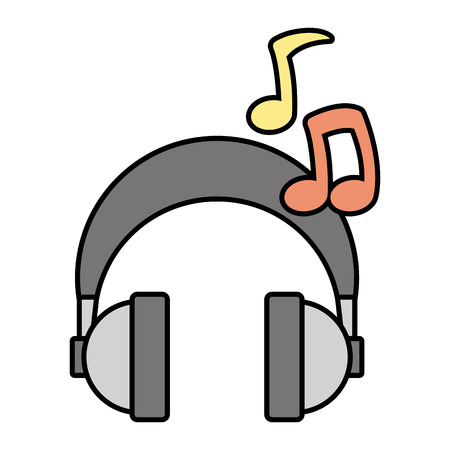 headphones audio music note device vector illustration