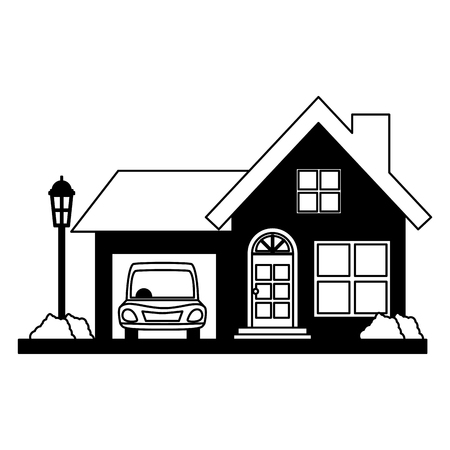 house property with car vector illustration design vector illustration design