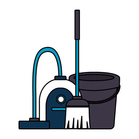 vacuum bucket broom spring cleaning tools vector illustration Standard-Bild - 122638028