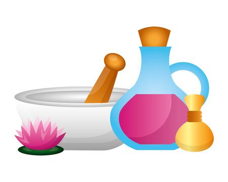 bowl oil bottle compress flower spa therapy vector illustration Illustration