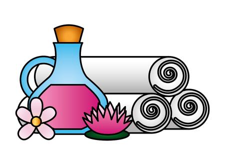 Botella de aceite toallas flores lotus spa terapia ilustración vectorial