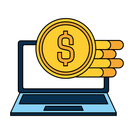 laptop screen with dollar coins icons vector illustration desing 向量圖像
