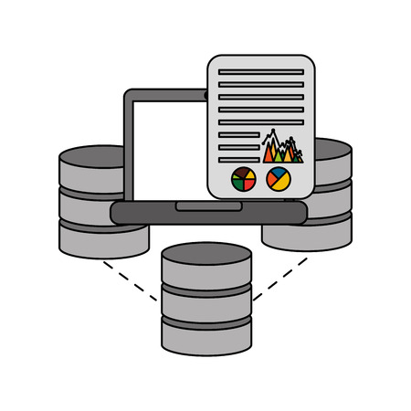 data center disks with laptop and document vector illustration design