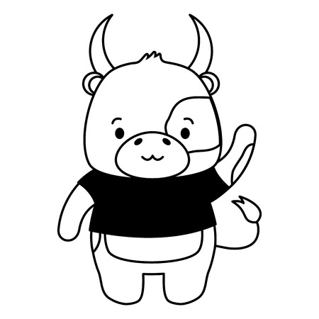 Bull mignon animal cartoon vector illustration design image