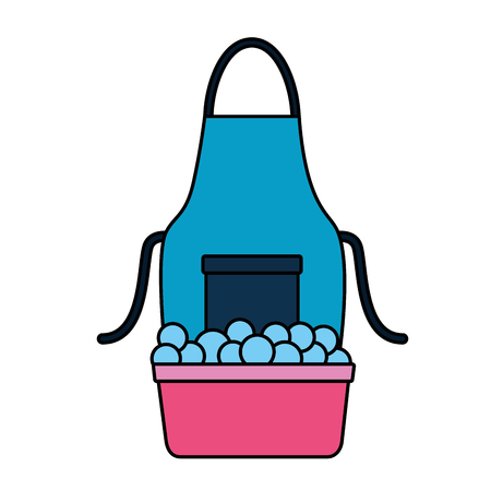 washing bucket apron spring cleaning tools vector illustration