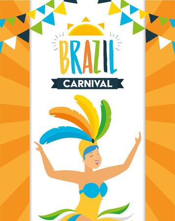 dancer with feather costume garland decoration brazil carnival celebration vector illustration Standard-Bild - 121925030