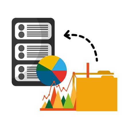folder with server data and statistics graphics vector illustration design