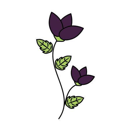 flower with stem and leaves white background vector illustration Ilustrace