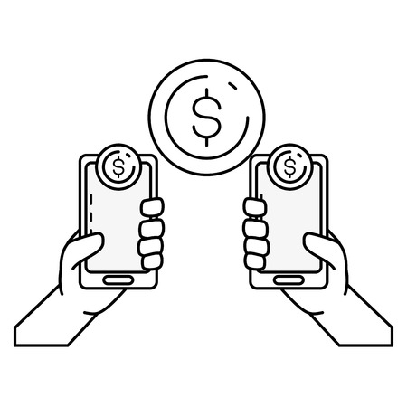hands with mobile transaction money online banking vector illustration