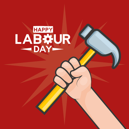 happy labour day hand with hammer vector illustration