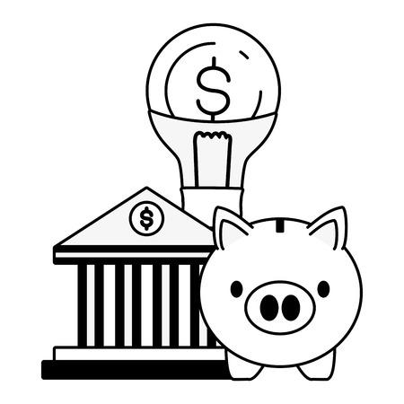 piggy bank bulb money online banking vector illustration