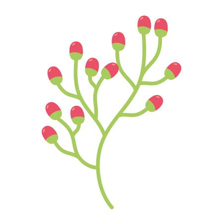Zweig Beeren Obst auf weißem Hintergrund Vektor-Illustration
