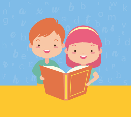 boy and girl with textbook - kids world book day vector illustration 일러스트