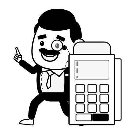 businessman terminal online banking vector illustration design Ilustração