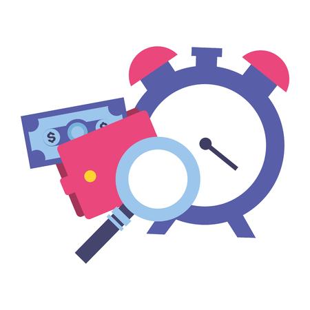 clock magnifier wallet money tax payment vector illustration Illustration