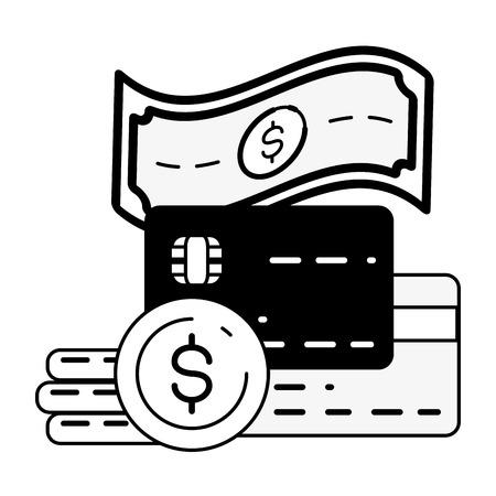 bank cards money online banking vector illustration