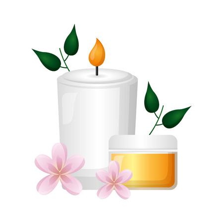 skin cream candle flowers spa treatment therapy vector illustration Foto de archivo - 122645447