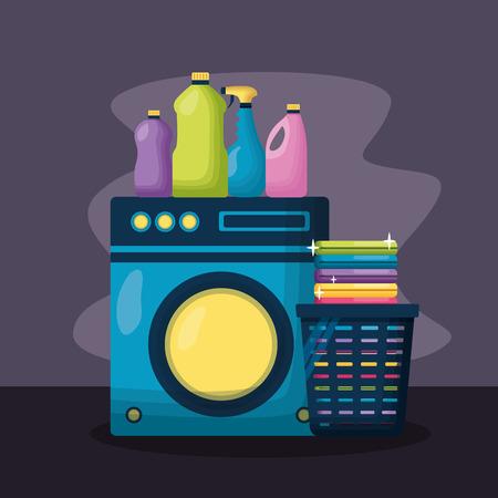 Machine à laver les bouteilles de lessive outils de nettoyage de printemps vector illustration Vecteurs