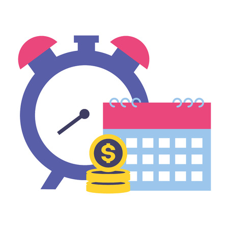 clock calendar money tax time payment vector illustration Standard-Bild - 122645452