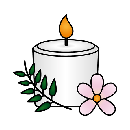 candle flowers spa treatment therapy vector illustration