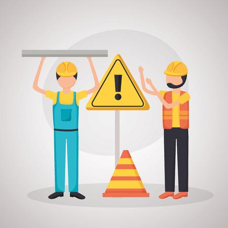 workers construction equipment toolbox blueprint vector illustration