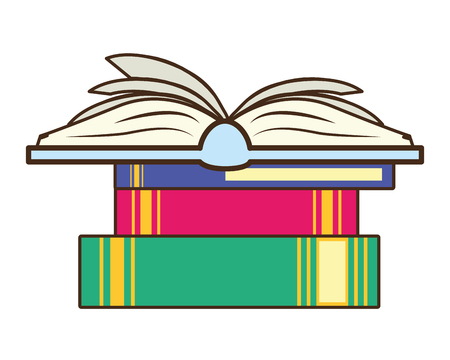 world book day - books stacked learning vector illustration