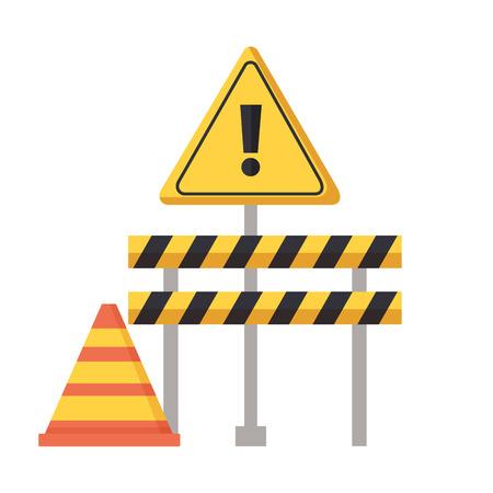 construction barricade warning sign cone vector illustration Vektorové ilustrace